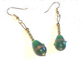Green Amethyst bead with golden balls