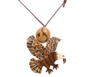 Tagua Nut Necklace: Eagle 2 (1153-N452) P13