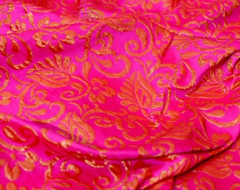 Pink and red flower printed silk brocade fabric-599