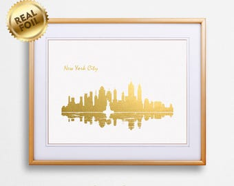 New York City Skyline Gold & Silver Print, Real Gold Foil, Office decor, New York City Poster, NYC Wall Art, NYC Gift, US, GoldenGraphy