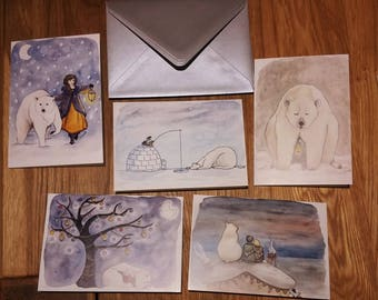 """Set of 5 greeting cards """"bear"""" 2 flaps with envelopes - A5 size"""