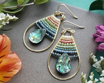Beaded Abalone Drop Earrings in Gold >> Iridescent Shell with Sparkly Peach, Green & Blue Crystals > Spring, Boho Luxe