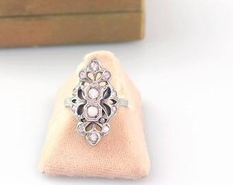 1920s Ring | Art Deco Ring | Sterling Silver Rhinestone Filigree Ring
