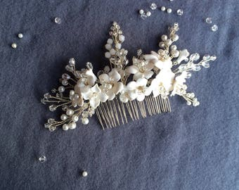 Wedding comb, wedding hair comb, bridal hair comb, flower hair comb, Pearl hair comb, Crystal hair comb