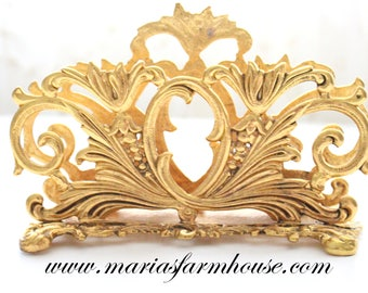 ORNATE, Baroque Brass Overlay, Art Nouveau Inspired Letter or Napkin Holder by Stylebuilt, Made in U.S.A., Elegant Hollywood Regency