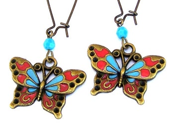 Multicolored butterfly earrings, antiqued brass, vintage style, turquoise Swarovski crystal, boho