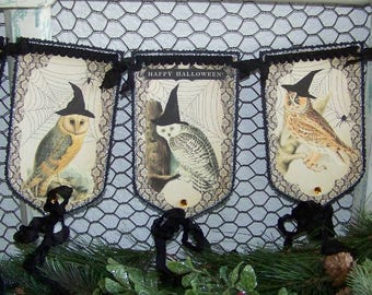 Halloween Decoration Halloween Banner Garland Cute Halloween Owl Banner Vintage Style