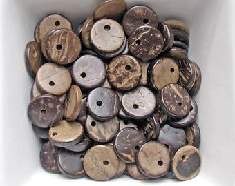 20 sequins 12mm Brown coconut wood