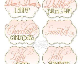 Candy Buffet Labels -You Print-  ANY COLOR   Princess Birthday   Spa Party   Wedding   Bridal Shower   Party Favors   Dessert Table Labels
