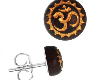 Wood earrings stainless steel Sonoholz round 8 mm laser-engraved golden OM Zackenkreis(Art-Nr. ES-1343-11)