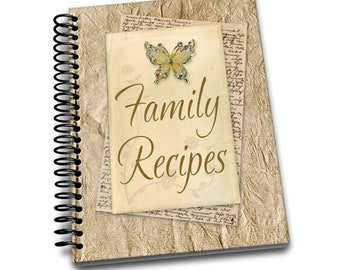 Family Recipes | 8 x 10 | Spiral Bound Notebook | Recipes Blank Notebook