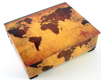 Decorative box, World map on vintage leather look, desk organizer, table decor, men's gift, made to order