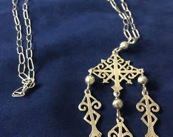Vintage Sterling Silver Multi Drop Pendant Necklace