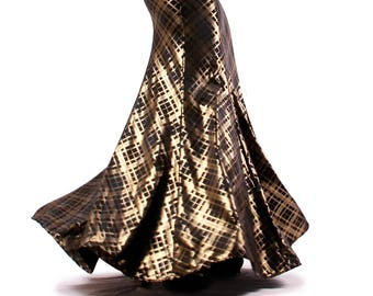 Skirt, YOUR SIZE, Gold and Black with hints of Dark Blue, Mermaid, Nouveau, Tribal, Fusion Bellydance, Cabaret, Cocktail