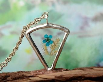 blue flower necklace glass terrarium summer jewelry, vegan gift for girl, boho pressed flower pendant, nature garden jewelry