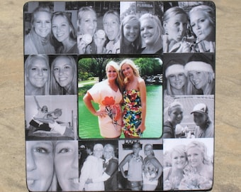 "Maid of Honor Photo Collage Frame, Personalized Sister Gift, Custom Collage Bridesmaid Frame, Best Friends Photo Collage Frame, 8"" x 8"""