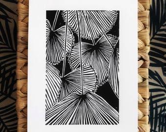 Original plant linocut print