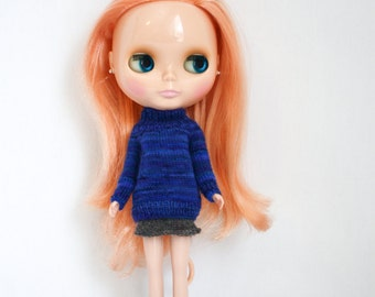 Blythe doll Sybil Sweater knitting PATTERN - short or long sleeve pull over for Neo - instant download - permission to sell finished items