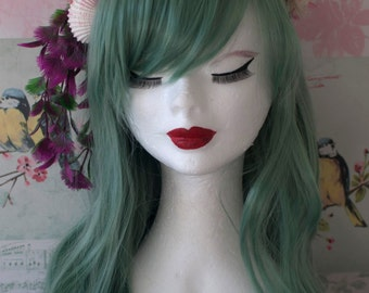 Seafoam green mermaid wig (heat resistant fibre) -hairband not included- Handstyled & Preserved