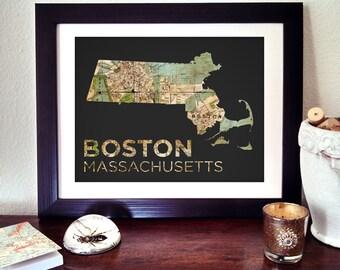 Boston Map Print, Boston Poster, Massachusetts State Print, Massachusetts Art, Boston Map, Boston Massachusetts