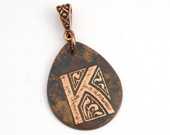 Letter K pendant, flat teardrop shape initial jewelry, etched metal, optional necklace, 29mm