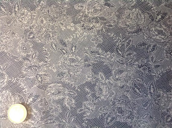 High quality cotton poplin, lace Print on gentian blue