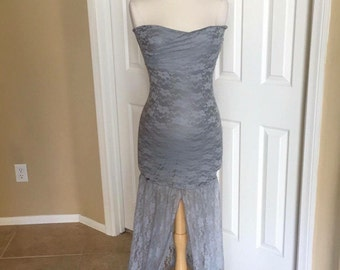 Gray Lace Lining Slim Fit Maternity Dress with long train, Maternity photo prop, Maternity Wedding Gown