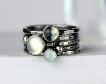 Moonstone and Aquamarine Stacking Rings, Hammered Silver Rings, Stackable Gemstone Rings, Silver Ring Set, White Green and Blue Rings