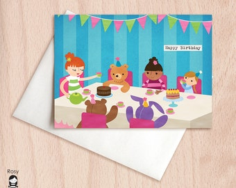 Tea Party - Make Believe, Girls Tea Party - Birthday Greeting Card