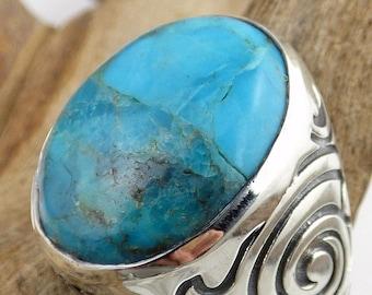 MAN ring TURQUOISE jewelry gemstone nb8/bee48 silver throat chakra
