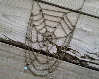 spiral spiderweb necklace / chain spiderweb necklace / halloween jewelry / spider web necklace / halloween necklace / HEY02W