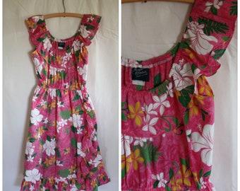 Girls Hawaiian Dress / Vintage Hawaiian Dress / Deadstock Hawaii Ruffle Dress / 80s Royal Hawaii Sundress / Girls Pink Hawaii Dress  12/14