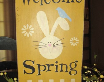 Welcome Spring Painted Wood Primitive Easter Sign, Spring Easter Bunny Decor