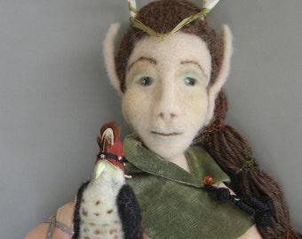 Peregrine Falcon, OOAK Art Doll, Needle Felted, Wall Doll