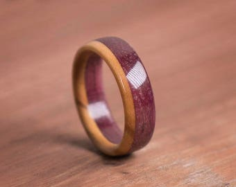 Double Billet Wooden Purpleheart and Roman Olive Ring