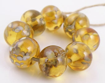 Rocky Road SRA Lampwork Handmade Artisan Glass Donut/Round Beads Made to Order Set of 8 8x12mm