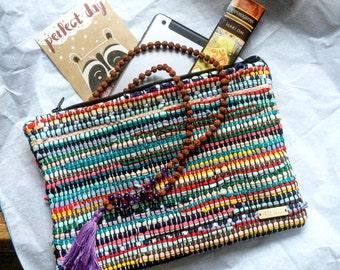 Handbag, Case for iPad mini, Boho Clutch, Weaving Bag, Kourelou Bag.