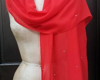 Red Chiffon Shawl Wrap Scarf with Rhinestones