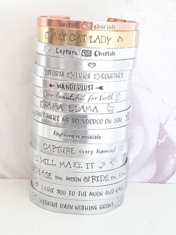 Custom cuff bracelet, handstamped personalised jewellery bangle for her, bridesmaid gift, gift for her, name jewellery
