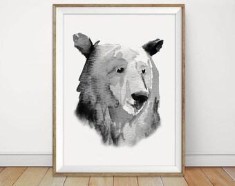 Bear Print, Woodland Nursery Animal Art Printable Black and White Minimalist Watercolor Art Digital Instant Download Kids Room