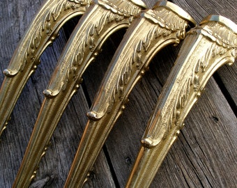 """Antique 15.4"""" (39cm) set of 4 brass ornate table legs, Antique solid brass table legs, Brass table legs, Table hardware, Console table legs"""