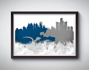 Detroit Inspired Art Poster Print, Detroit, Michigan Skyline Poster