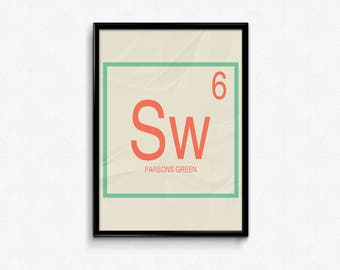 Parsons Green station art, Giclee Art print, Periodic table art, Fulham, SW6 Postcode, Parsons Green London Underground, Minimal, Modern D