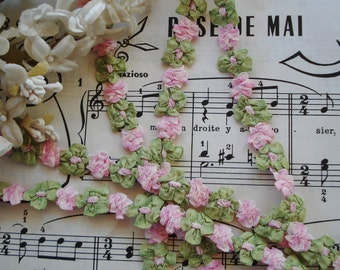 "18"" Vintage French Ombre Pink Green Rococo Rosette Ribbon Work Flower Hat Doll Trim Scrapbook Crazy Quilt Flapper Embellishment France"