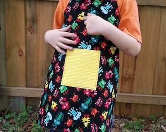 Reversible Child's Apron cute monsters on black 2