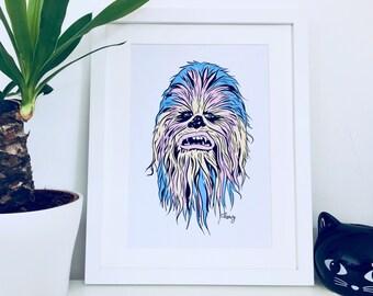 Chewbacca Art Print/ Star Wars Digital Art Print/ Sci-Fi/ Movie Poster/ Star Wars Fan Art/ A4 Print
