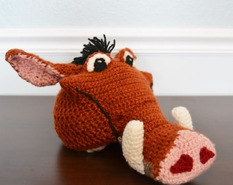 Crochet Pumba the Warthog Hat - Lion King costume hats for boys or girls - crochet animal hats