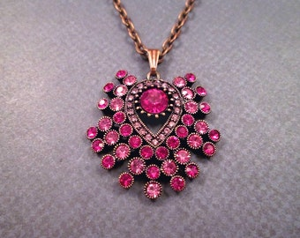 Victorian Style Pendant Necklace, Copper Chain Necklace, Pink Glass Rhinestone Necklace, FREE Shipping U.S.