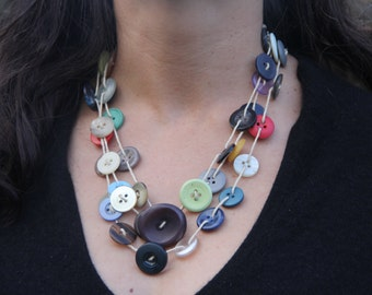 Handwoven necklace // multi-colour // multi color // vintage buttons // hemp twine // eco gifts // multi-strand