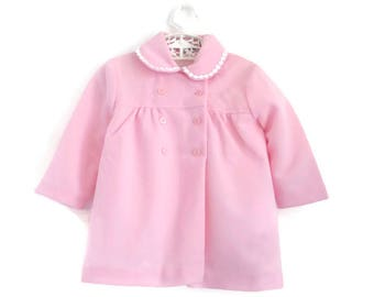Vintage Baby Coat, Baby Coat, Pink Baby Coat, Vintage Baby Clothes, Spring Baby Coat